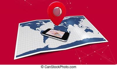 cellulaire, icône, carte, téléphone, sur