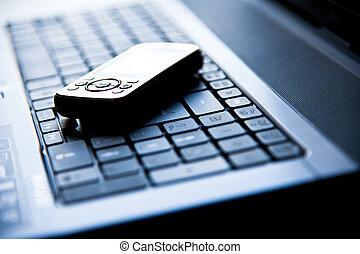 cellulaire, sur, a, ordinateur portable