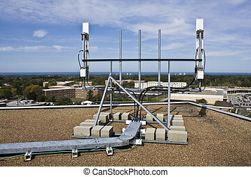 Cellular antennas installed on the roof