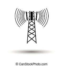 Cellular broadcasting antenna icon. White background with ...
