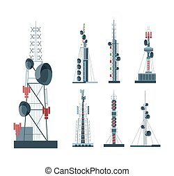Cellular communication towers set. Towers with amplifiers ...