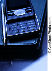 Cellular phone and leather organizer