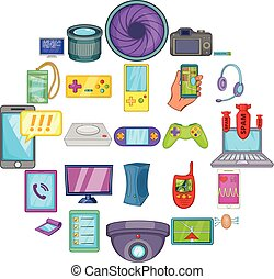 Cellular phone icons set, cartoon style