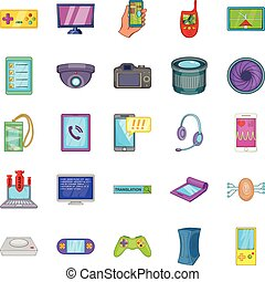 Cellular phone icons set, cartoon style - Cellular phone...