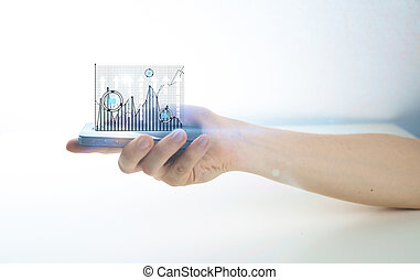 Cellular phone with business charts - Side view of male hand...