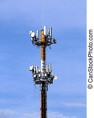 Cellular telecommunication tower under blue sky