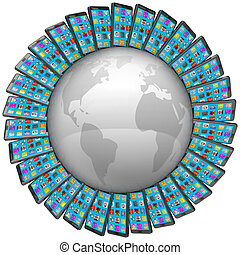 cellule, autour de, téléphones, global, connexions, mondiale, intelligent