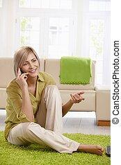cellule, conversation, femme, maison