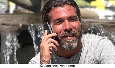 cellule, conversation, homme, téléphone