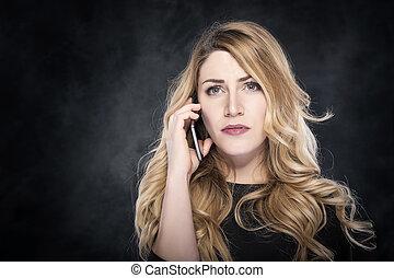 cellule, femme, téléphone., appeler