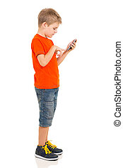 cellule, garçon, jeune, utilisation, téléphone