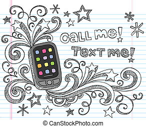 cellule, griffonnage, sketchy, smartphone