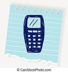 cellule, griffonnage, téléphone