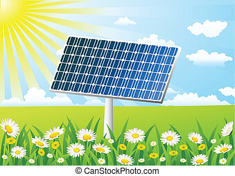 cellule, herbe champ, solaire