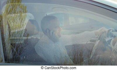 cellule, homme affaires, appeler, téléphone