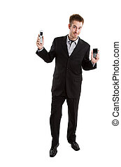cellule, homme affaires, caucasien, téléphones