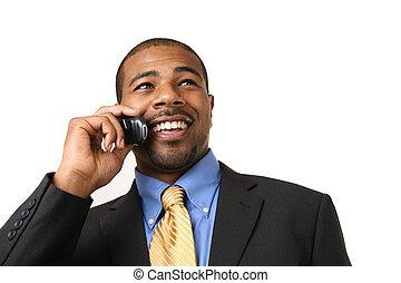 cellule, homme affaires, conversation, téléphone