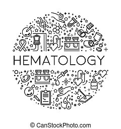 cellule, icone, vasi, sangue, ematologia, donazione, linea,...