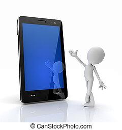 cellule, introduire, touchscreen, homme, téléphone