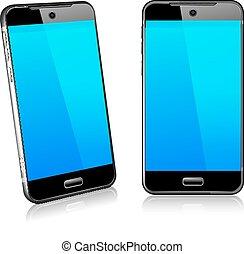 cellule, mobile, 2d, téléphone, intelligent, 3d