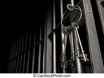 cellule, porte, clés, ouvert, prison, tas