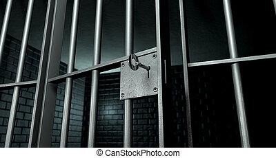 cellule, porte, prison, ouvert