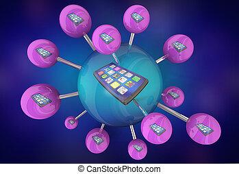 cellule, réseau, service, illustration, connexions, téléphone, plan, nouveau, intelligent, 3d