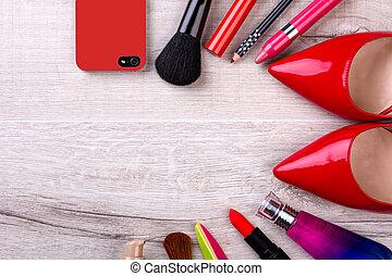 cellule, shoes., produits de beauté, téléphone