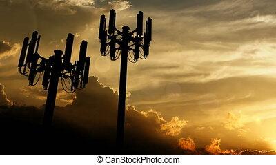 cellule, sunset., tour, télécommunication