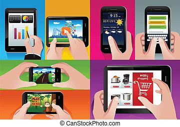 cellule téléphone, utilisation, tablette, gens
