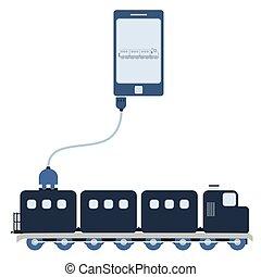 cellule, utilisation, train, automation, téléphone