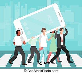 cellule, vecteur, média, smartphones, téléphone, illustration., énorme, socially, social, téléphones, gens, dépendance, porter, addictions.