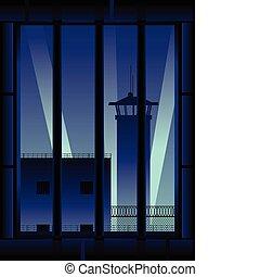 cellule, vertical, prison