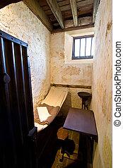 cellule, vieux, minuscule, prison