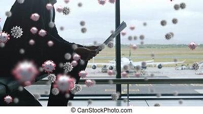 cellules, homme numérique, en mouvement, covid-19, contre, ...