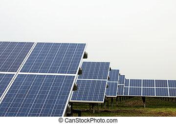 cellules, parc, solaire