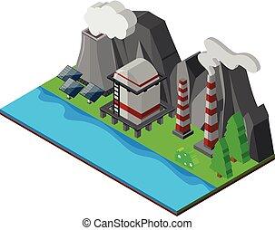 cellules solaires, et, cheminées, par, les, rivière