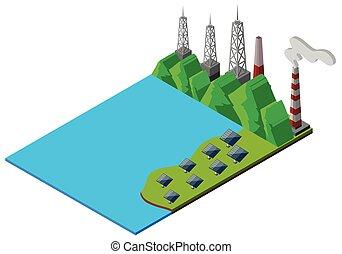 cellules solaires, par, les, lac