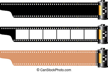Celluloid - Three different empty film frames