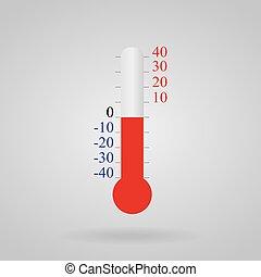 celsius, 40, fond, blanc, -40, température, thermomètre