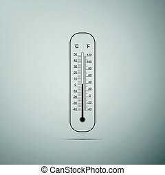 Celsius and fahrenheit meteorology thermometers measuring heat and cold flat icon on grey background. Thermometer equipment showing hot or cold weather. Vector Illustration