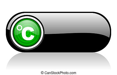 celsius black and green web icon on white background