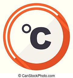 Celsius flat design vector web icon. Round orange internet button isolated on white background.