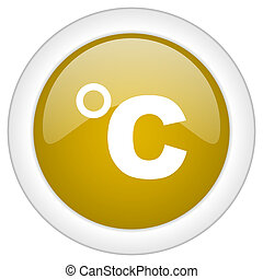 celsius icon, golden round glossy button, web and mobile app design illustration