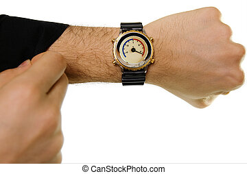 Hand with a wrist-watch with a thermometer (in Celsius) instead of hours dial. White background.