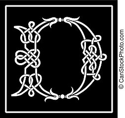 celta, capital, d, letra, knot-work