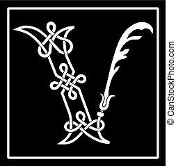celta, capital, knot-work, carta, v