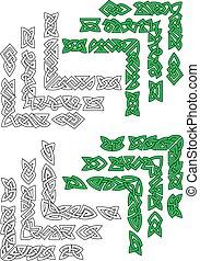 celta, fronteiras, verde, esboço, quadro