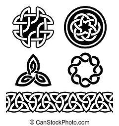 celta, irlandés, patrones, y, nudos
