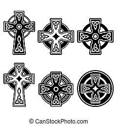 celta, irlandês, crucifixos, escocês
